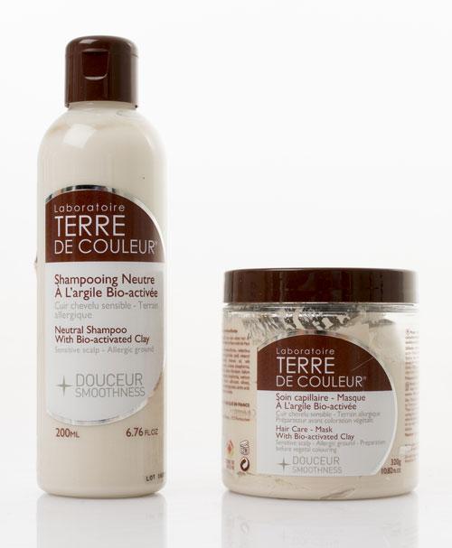 Shampoing et soin douceur à l'argile de la marque terre de couleur